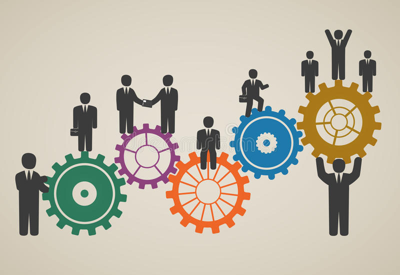 Mano de obra, funcionamiento del equipo, hombres de negocios en el movimiento stock de ilustración