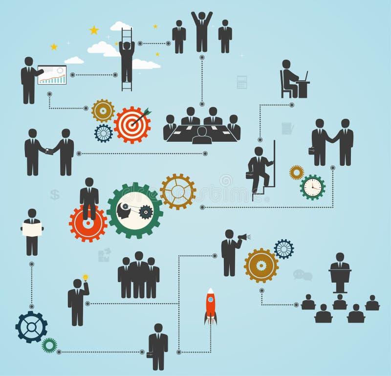 Mano de obra, funcionamiento del equipo, hombres de negocios en el movimiento, motivación f stock de ilustración