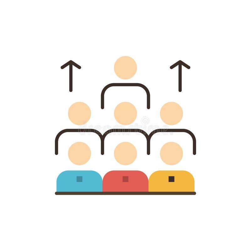 Mano de obra, negocio, ser humano, dirección, gestión, organización, recursos, icono plano del color del trabajo en equipo Bander stock de ilustración
