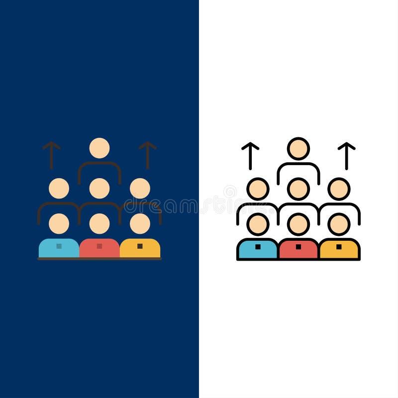 Mano de obra, negocio, ser humano, dirección, gestión, organización, recursos, iconos del trabajo en equipo Plano y línea vector  stock de ilustración