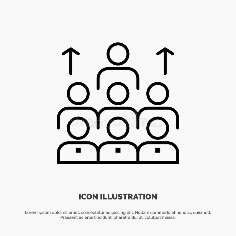 Mano de obra, negocio, ser humano, dirección, gestión, organización, recursos, línea vector del trabajo en equipo del icono ilustración del vector