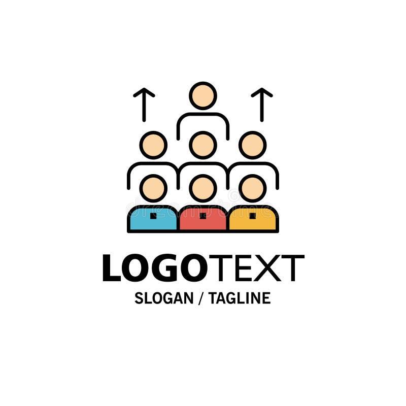 Mano de obra, negocio, ser humano, dirección, gestión, organización, recursos, negocio Logo Template del trabajo en equipo color  ilustración del vector