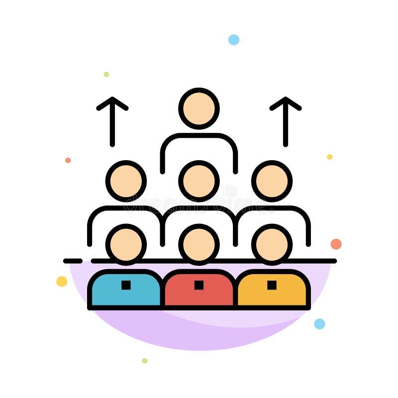 Mano de obra, negocio, ser humano, dirección, gestión, organización, recursos, plantilla plana del icono del color del extracto d ilustración del vector