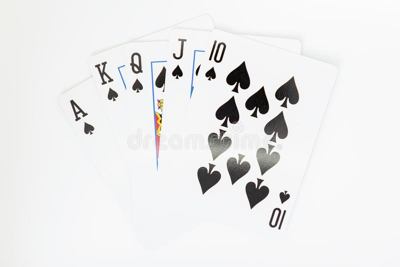Mano de póker del rubor real foto de archivo