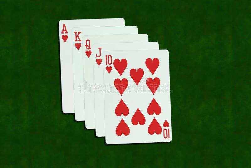 Mano de póker, escalera real imagenes de archivo