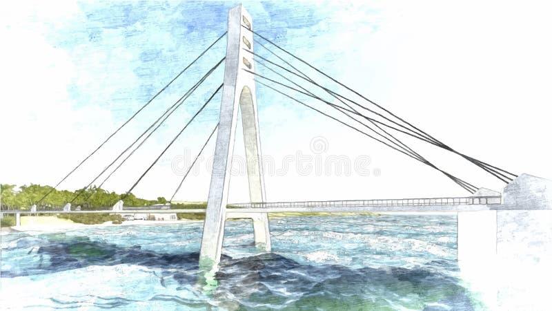 Mano de puente dibujada, ejemplo del vector libre illustration