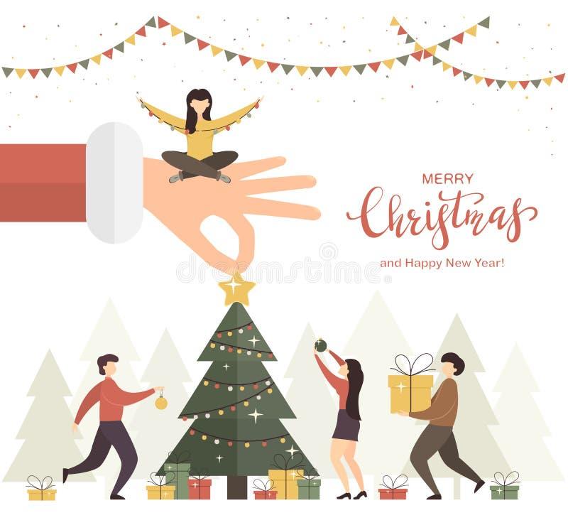 Mano de Santas con el árbol de navidad y la gente stock de ilustración