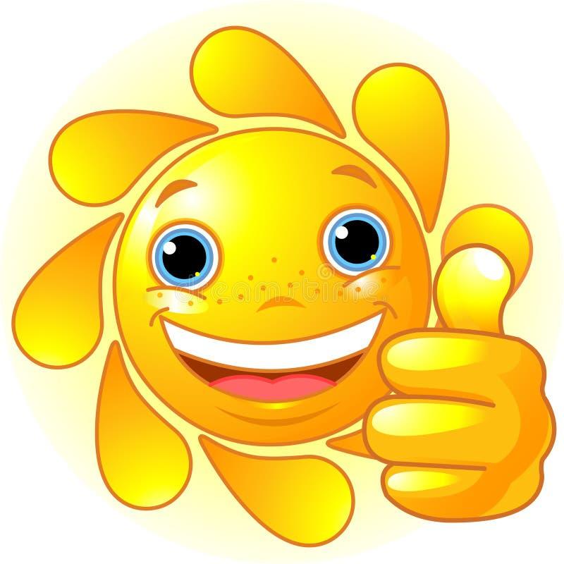 Mano de Sun que da los pulgares para arriba stock de ilustración