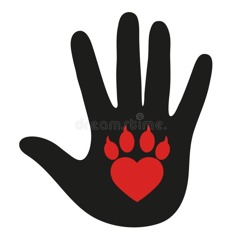 Mano de un hombre con un ` s pav del perro icono moderno del negro de la mano del control de la pata en el fondo blanco stock de ilustración