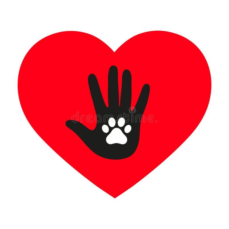 Mano de un hombre con una pata del ` s del perro en el corazón en un fondo blanco ilustración del vector
