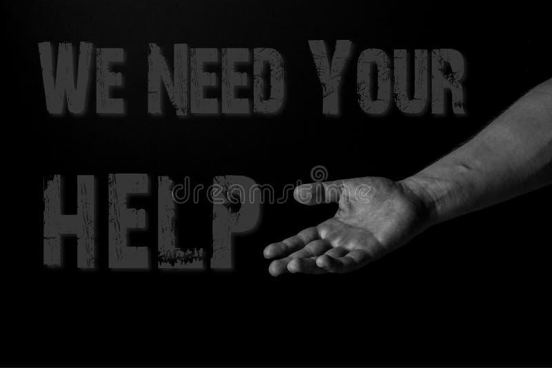 Mano de una palma del hombre para arriba que alcanza, necesitamos su ayuda imagen de archivo libre de regalías