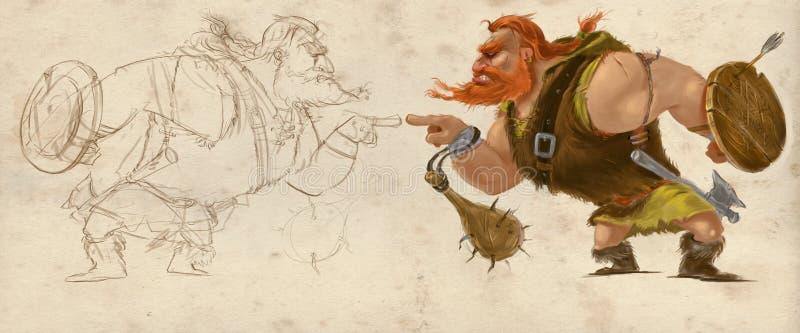 Mano de Viking Character dibujada ilustración del vector