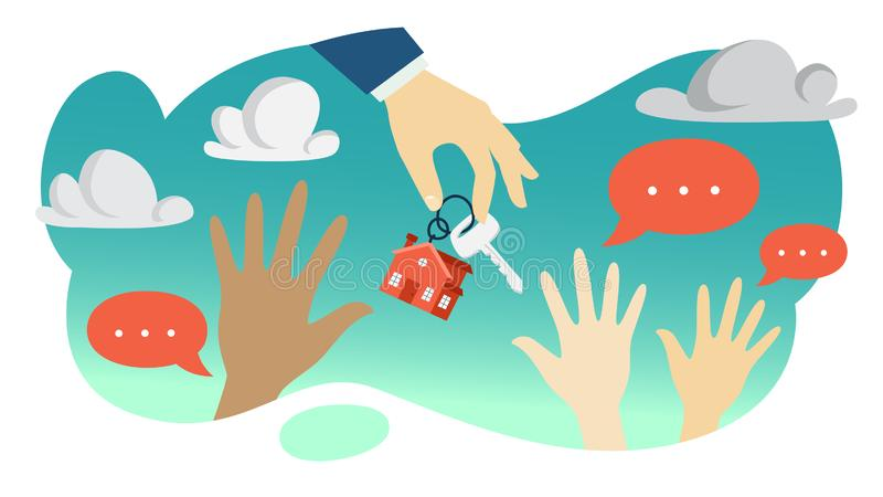 Mano del agente inmobiliario que lleva a cabo llave de la casa ilustración del vector