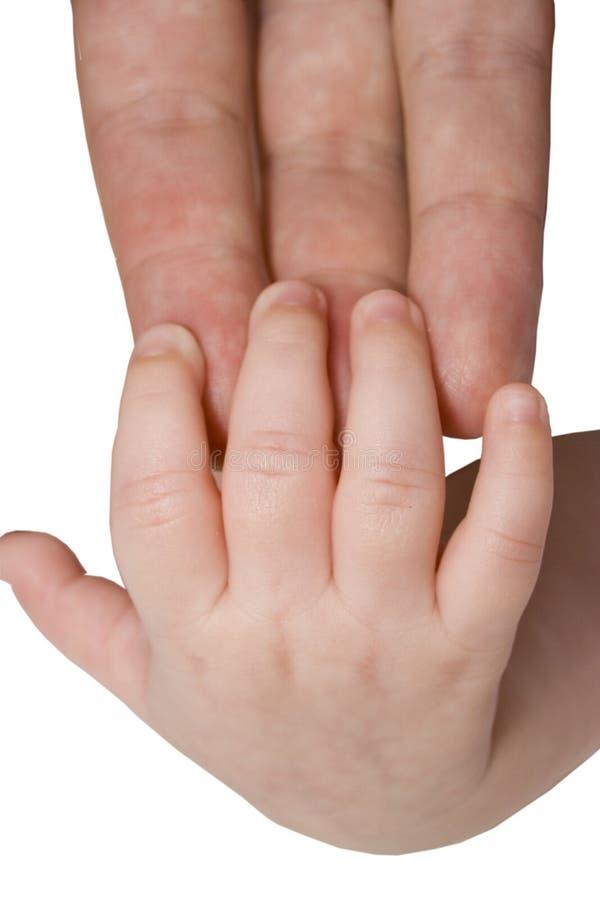 Mano del bambino e braccio del genitore immagine stock