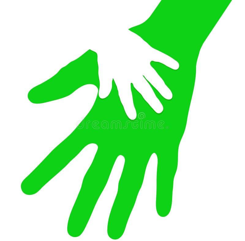 Mano del bebé en palma abierta del padre cuidadoso ilustración del vector