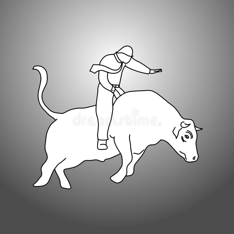 Mano del bosquejo del garabato del ejemplo del vector del jinete del toro del hombre de negocios ilustración del vector