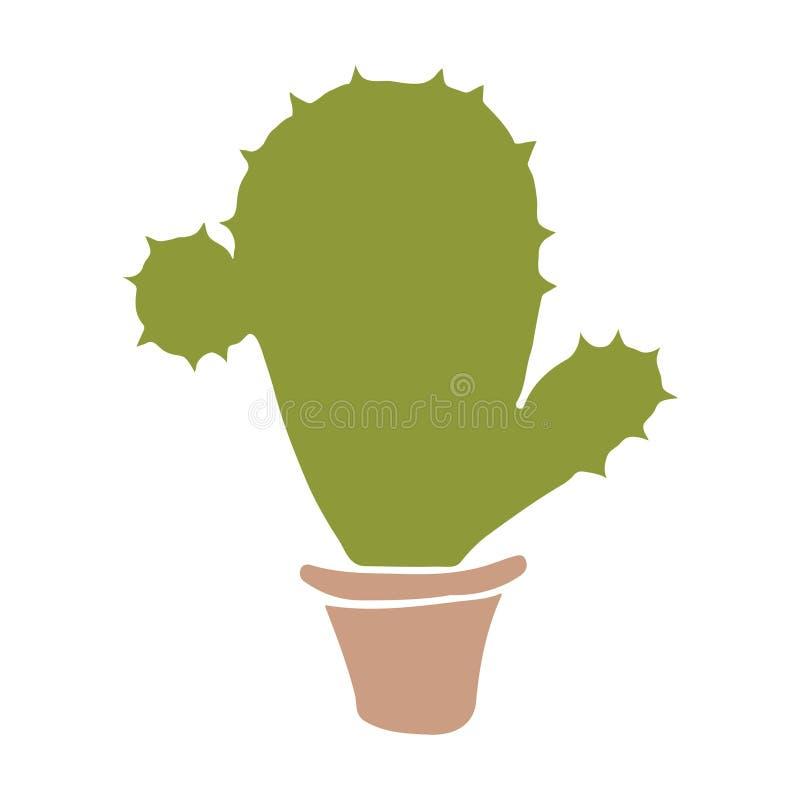 Mano del cactus dibujada ilustración del vector