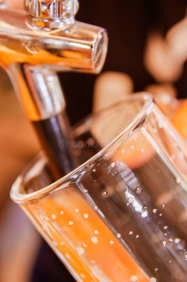 Mano del camarero en el golpecito de la cerveza que vierte una porción de la cerveza de cerveza dorada del proyecto en un restaur fotografía de archivo libre de regalías