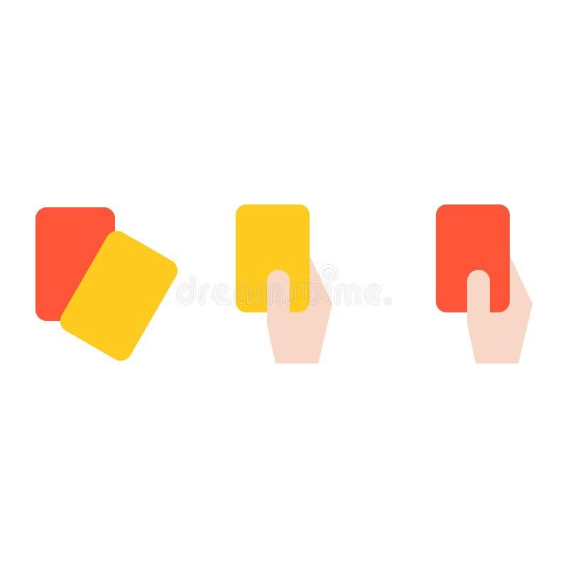 Mano del cartellino rosso della tenuta dell'arbitro e del cartellino giallo, socc piano dell'icona royalty illustrazione gratis