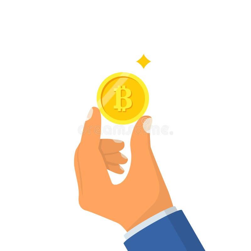 Mano del control del bitcoin de la moneda ilustración del vector