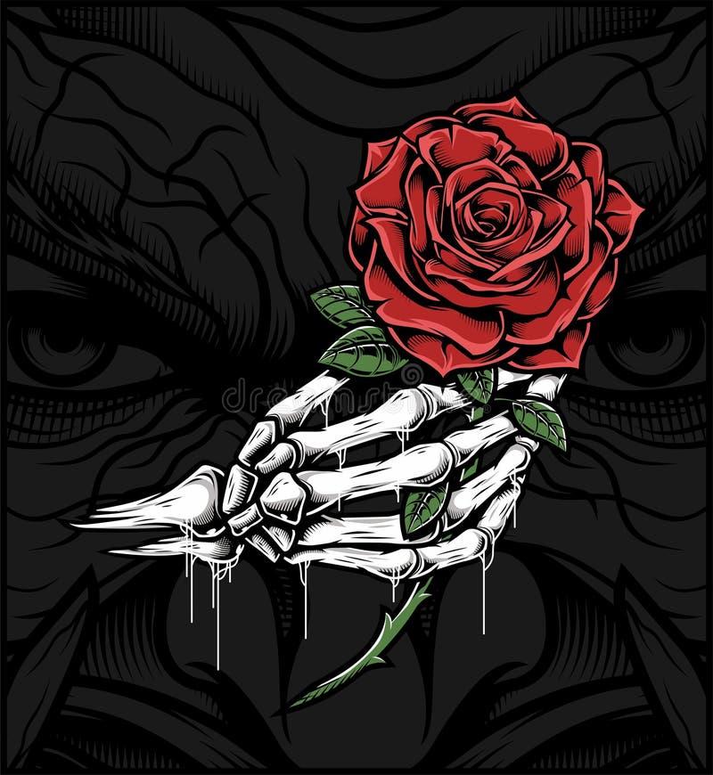 Mano del cráneo que sostiene una rosa ilustración del vector