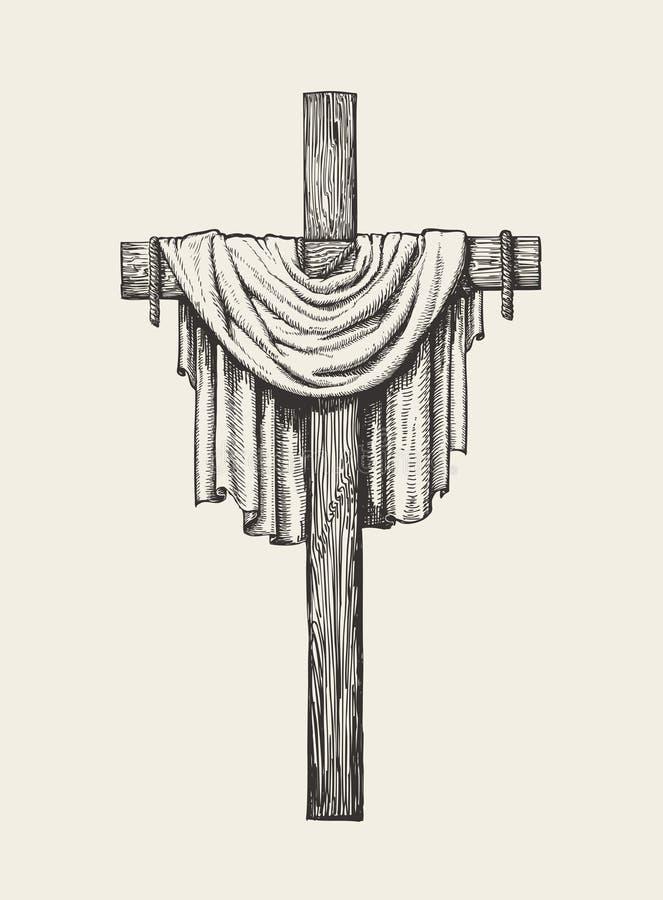 Mano del crucifijo, de la cruz y de la cubierta dibujada muestra religiosa Ejemplo del vector del bosquejo stock de ilustración