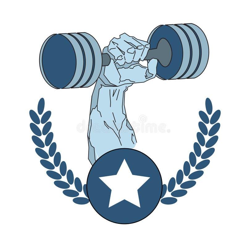 Mano del culturista que lleva a cabo la plantilla de Logo Modern Sport Center Emblem del gimnasio de la aptitud del Barbell ilustración del vector