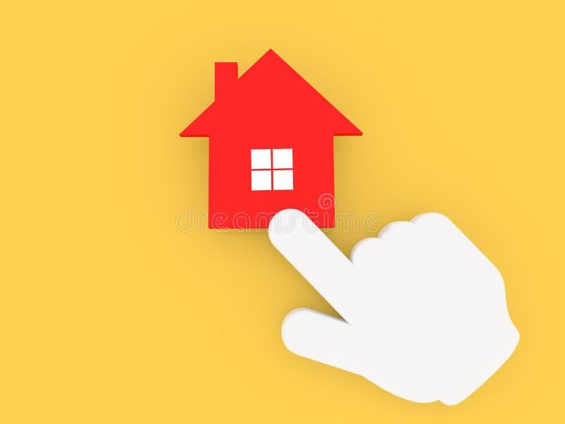 Mano del cursor que hace clic en el icono de la casa libre illustration