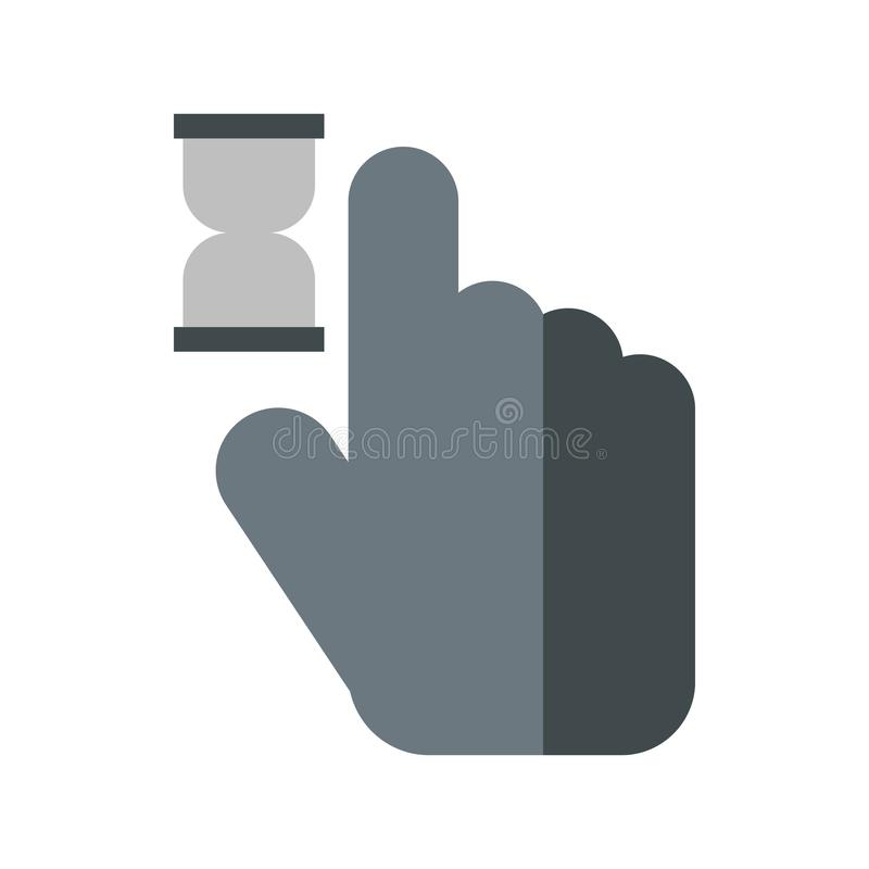 Mano del cursore nell'icona di anticipazione, stile piano illustrazione di stock