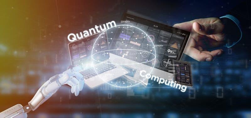 Mano del cyborg che tiene concetto di computazione di Quantum con la rappresentazione dei dispositivi e del qubit 3d fotografia stock