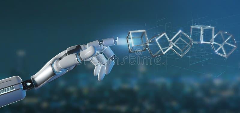 Mano del cyborg che tiene una rappresentazione del cubo 3d del blockchain illustrazione di stock
