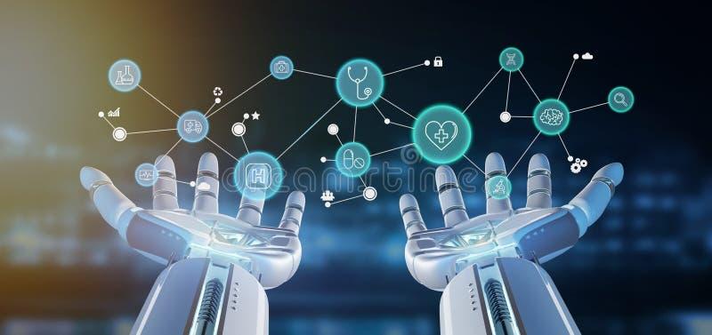 Mano del cyborg che tiene una rappresentazione medica del collegamento e dell'icona 3d royalty illustrazione gratis