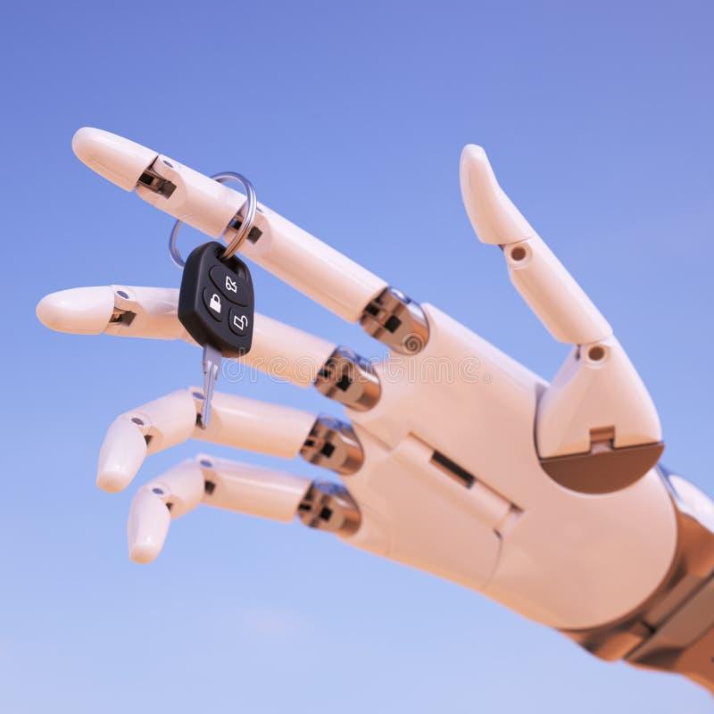 Mano del Cyborg con llave del coche delante del ejemplo del cielo azul 3d ilustración del vector