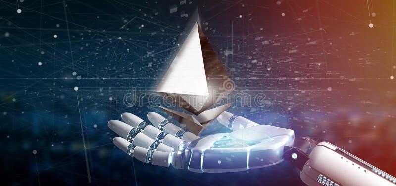 Mano del Cyborg que lleva a cabo un aroun crypto del vuelo de la muestra de moneda de Ethereum stock de ilustración