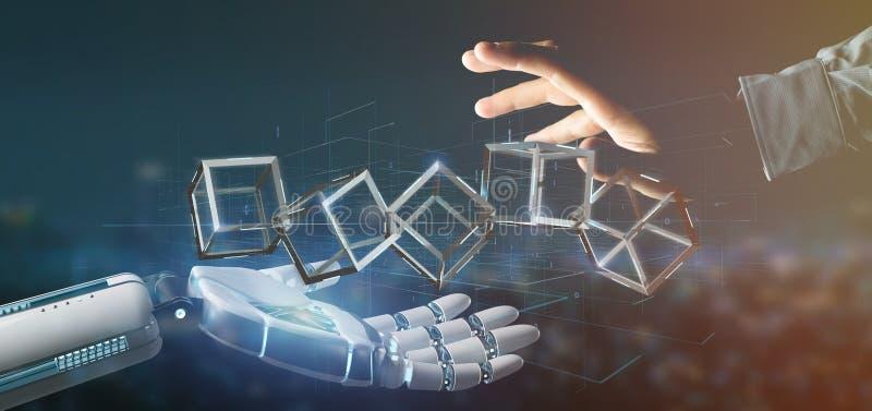 Mano del Cyborg que lleva a cabo una representación del cubo 3d del blockchain ilustración del vector