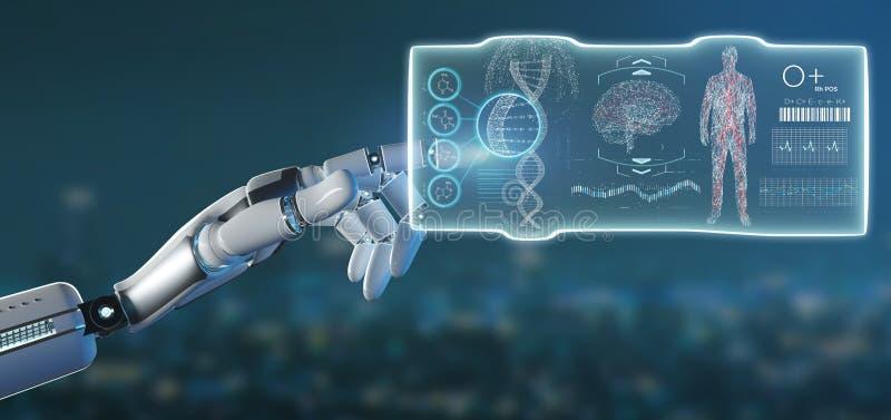 Mano del Cyborg que lleva a cabo una representación médica del hud 3d del interfaz de la plantilla futurista ilustración del vector
