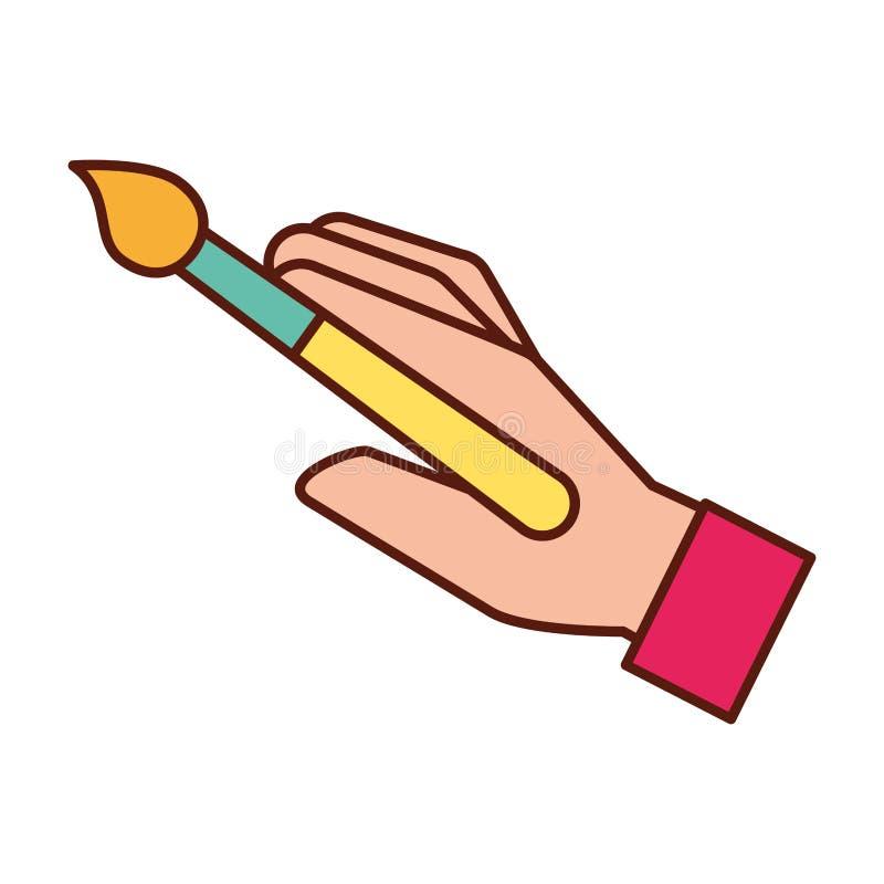 Mano del diseñador gráfico con la herramienta de la brocha ilustración del vector