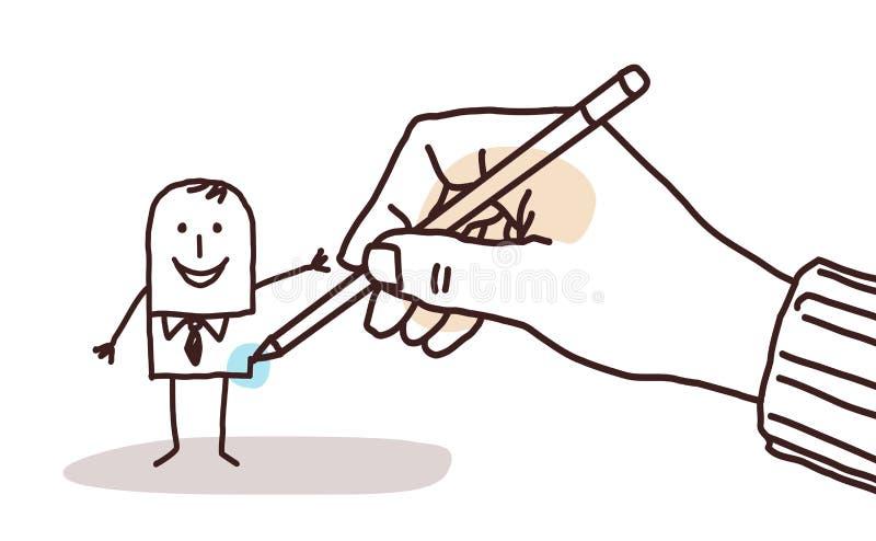 Mano del diseñador que dibuja a un hombre de negocios de la historieta stock de ilustración