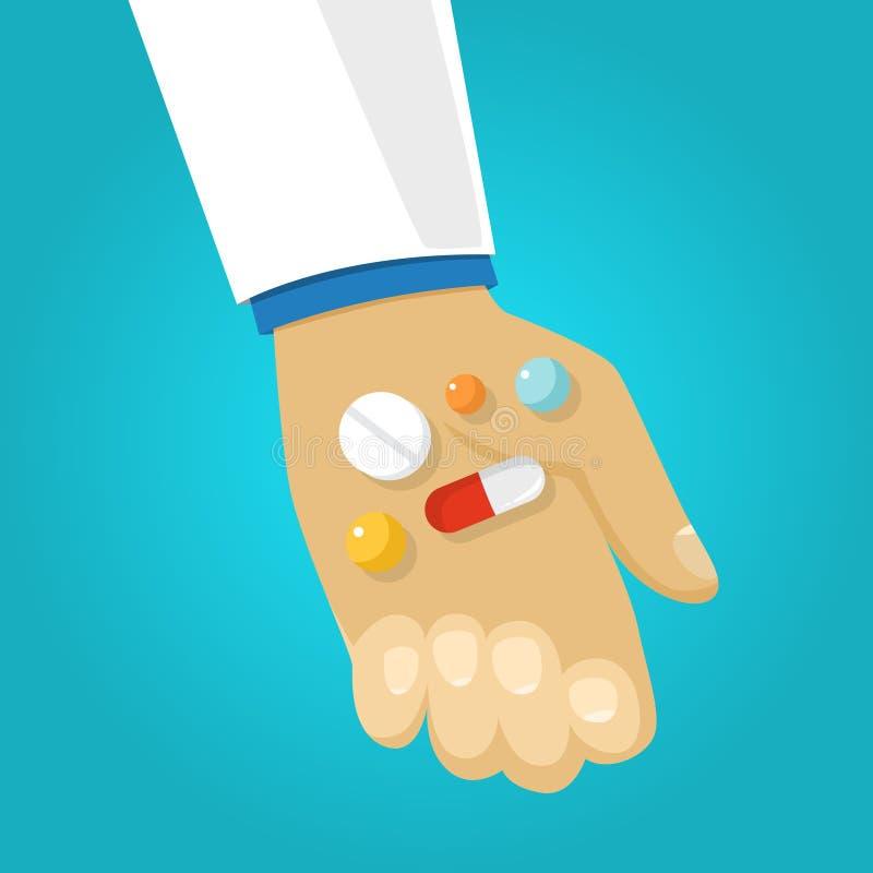 Mano del doctor que da la medicina paciente Dosis de médico stock de ilustración