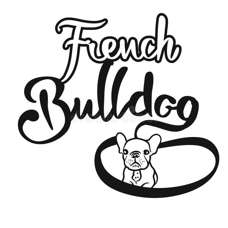 Mano del dogo francés dibujada poniendo letras al logotipo ilustración del vector