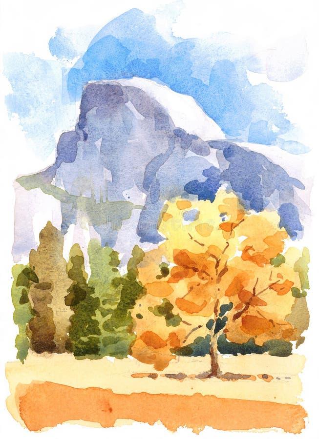 Mano del ejemplo de la acuarela del parque nacional de Yosemite dibujada stock de ilustración