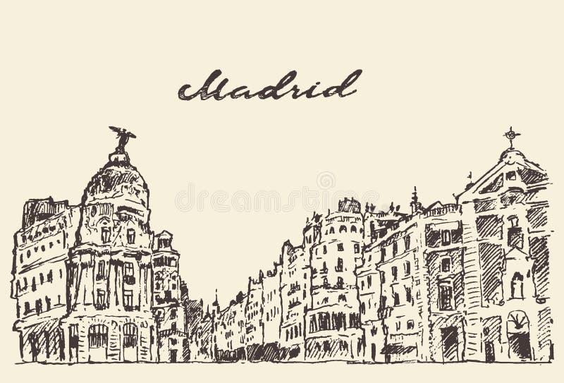 Mano del ejemplo de Madrid España de las calles dibujada stock de ilustración