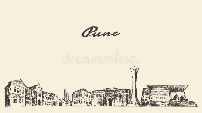 Mano del ejemplo del vector del horizonte de Pune dibujada stock de ilustración