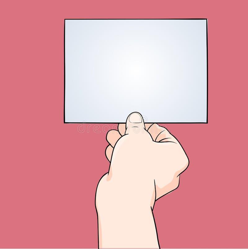 Mano del ejemplo que sostiene el papel en blanco - Vector el ejemplo ilustración del vector