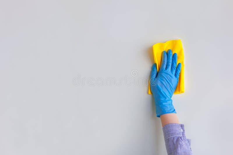 Mano del empleado en el guante protector de goma azul que limpia la pared del polvo con el trapo seco Limpieza general o regular imagen de archivo
