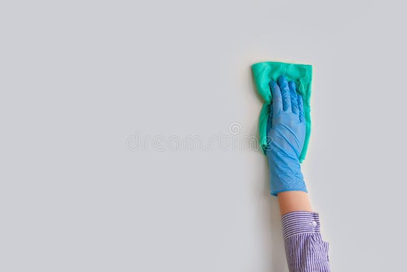 Mano del empleado en el guante protector de goma azul que limpia la pared del polvo con el trapo seco Limpieza general o regular imagen de archivo libre de regalías
