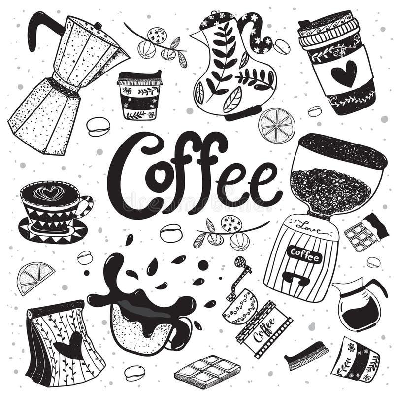 Mano del equipo del café del garabato que dibuja el elemento plano del vector libre illustration