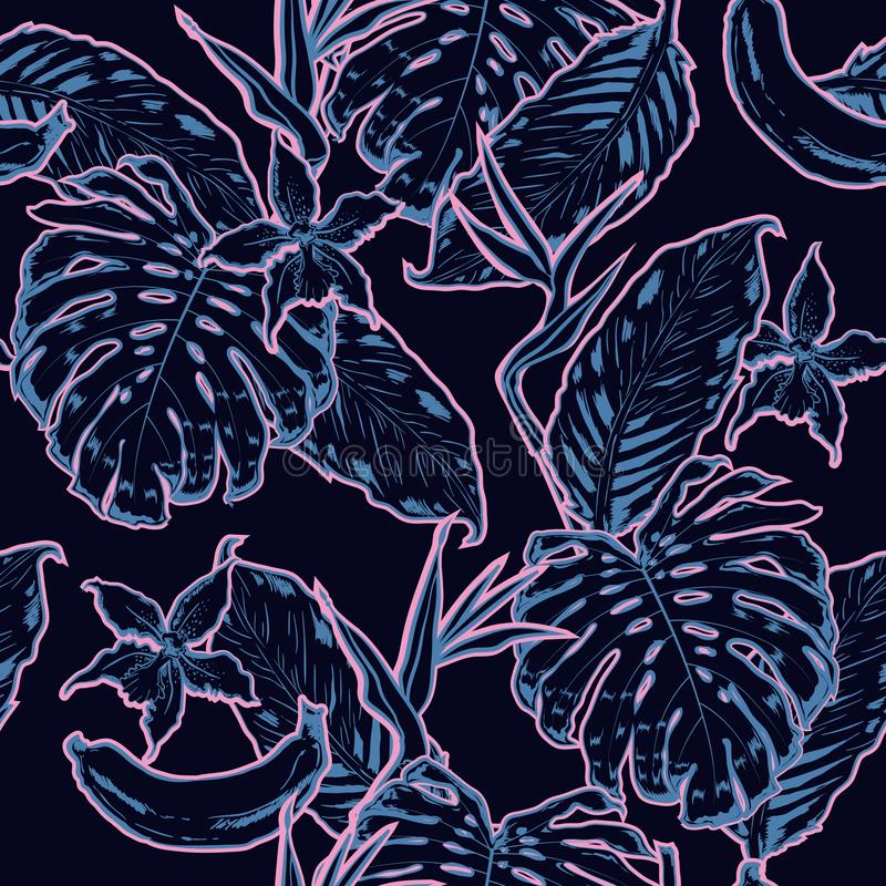 Mano del esquema que dibuja el modelo inconsútil de las hojas exóticas Le tropical stock de ilustración