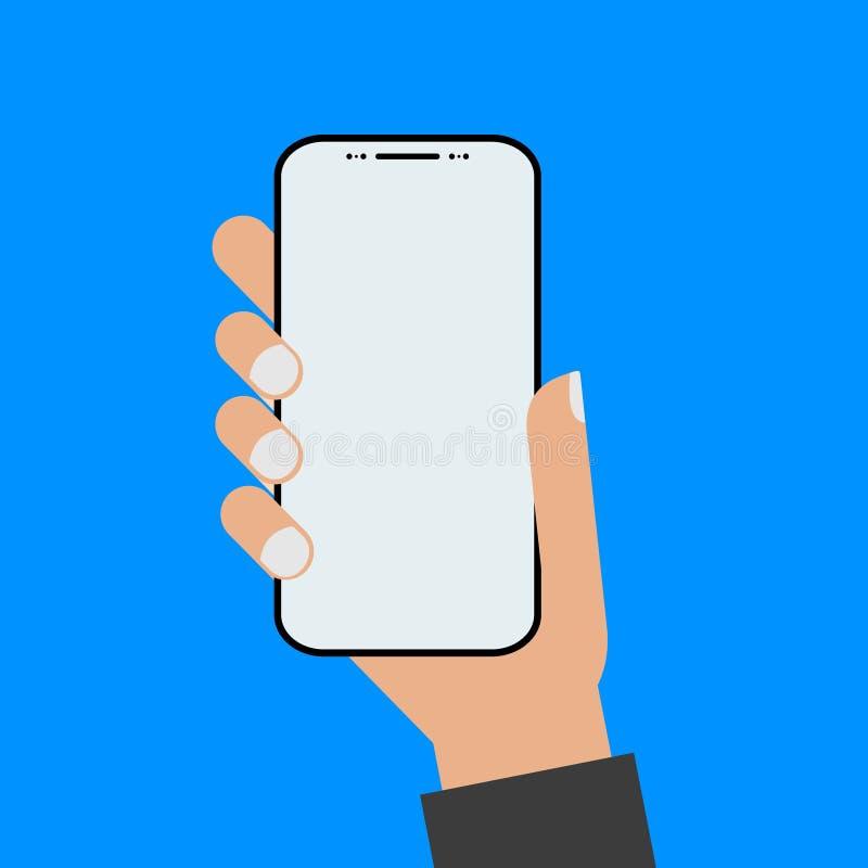 Mano del estilo del dise?o moderno que sostiene el smartphone con la pantalla vac?a ilustración del vector
