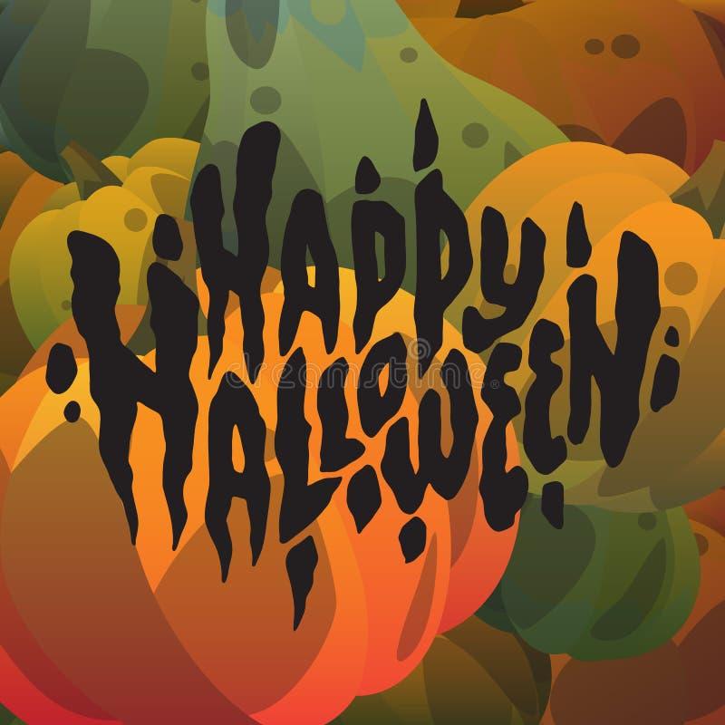 Mano del feliz Halloween dibujada poniendo letras a las postales con las calabazas stock de ilustración
